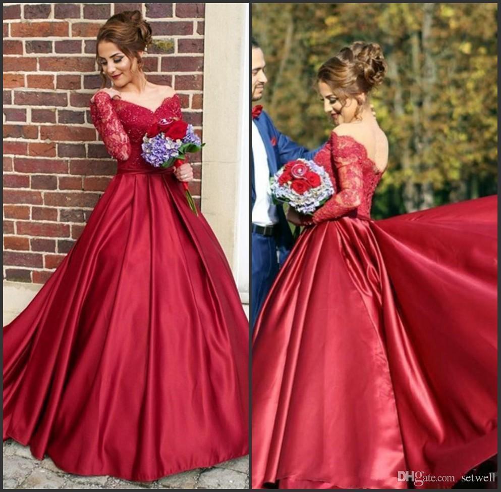 Robes de soirée une ligne satin rouge avec des manches longues sur l'épaule appliques dentelle robe de soirée de bal robes de soirée formelles