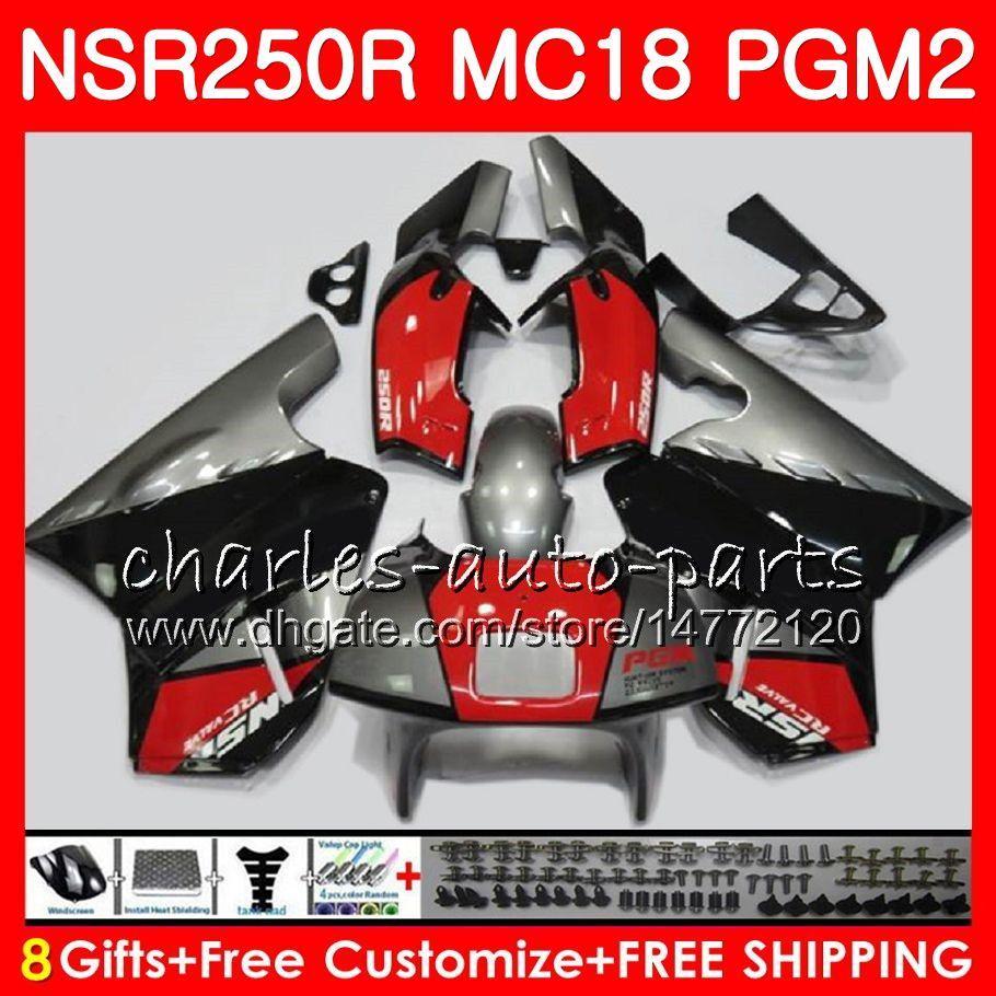 Corps Pour HONDA NSR 250 R MC18 PGM2 NSR 250R NS250 NSR250R 88 89 78HM.19 MC16 NSR250 R RR NSR250RR 1988 1989 88 89 Kit de carénage Argent rouge