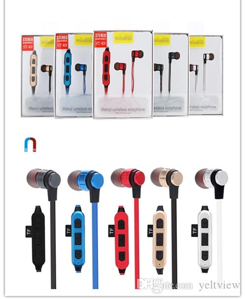 Bluetooth kulaklıklar Metal Manyetik kulaklık ST-K9 Kablosuz kulaklıklar Koşu Spor Kulaklık Stereo sweatproof TF Kart yuvası ile perakende kutusu