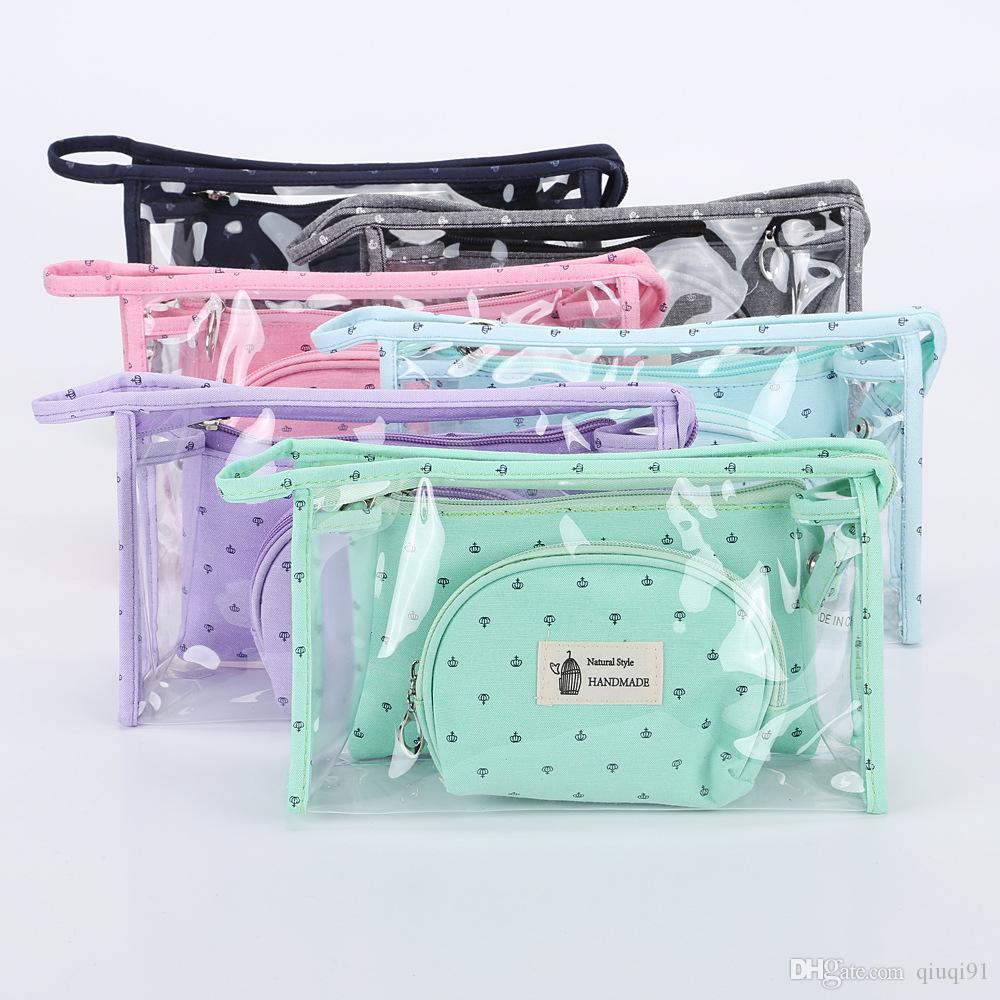 Casual Femmes Voyage Cosmétique Sac PVC En Cuir Zipper Make Up Transparent Maquillage Cas Organisateur Pochette De Rangement Trousse De Toilette Sacs 3 Set