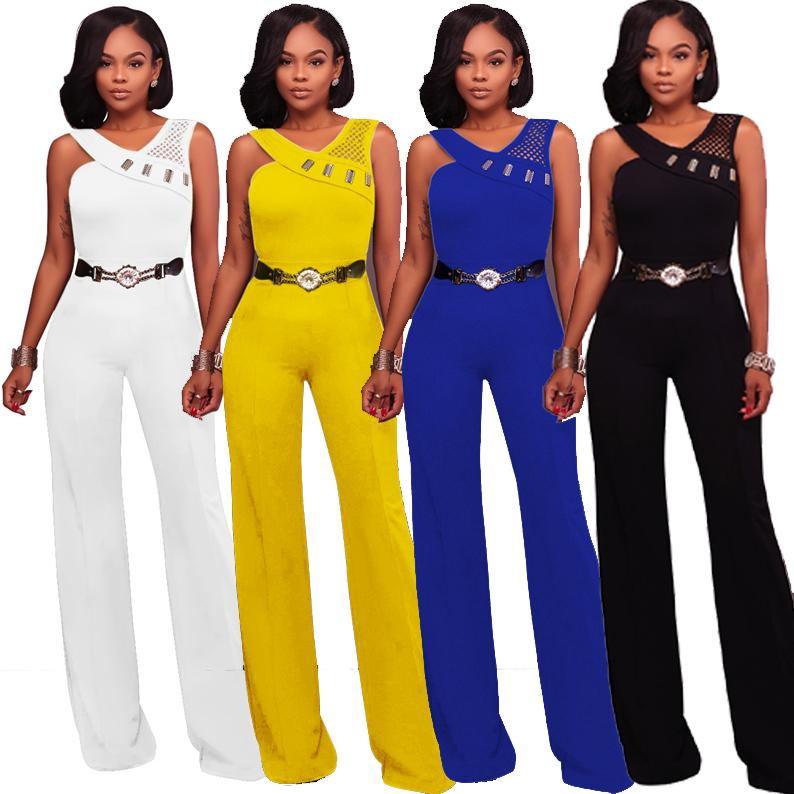 European women jumpsuits standard size tracksuit vestidos high-end metal belt sexy onesie halter bodysuit jumpsuit rompers womens pants