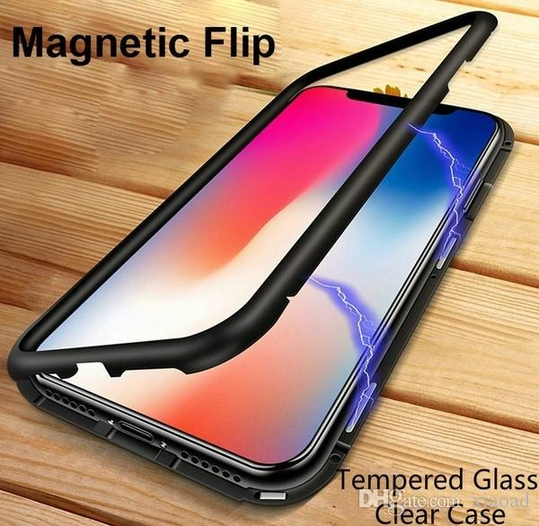 2 in 1 Metal Magnetic Bumper Case + Slim Tempered Glass Cover Aluminum Adsorption Frame Shell Phone Cases