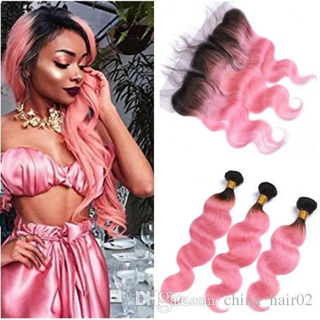 # 1B / El cabello humano de Virgin Wave rosado de Malasia se teje con la oreja al oído Frontales de encaje completo 13x4 Body Wave Pink Ombre Bundles Ofertas