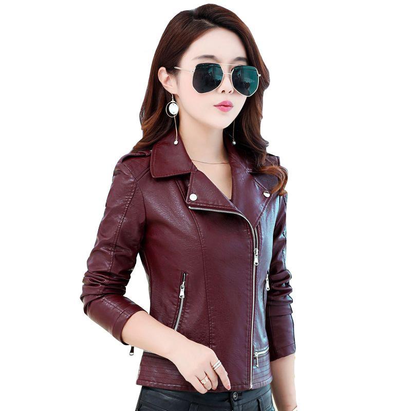 2017 autumn winter jacket women short coats faux leather jacket faux fur biker motorcycle casual jackets plus size coats QH0680
