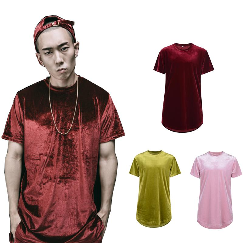 2017 de alta calidad de moda de terciopelo suelta camiseta hombres hip hop verano arco dobladillo extendido de manga corta camiseta envío gratis street wear