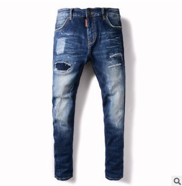 Men s jeans 2018 trend ripped jeans Nine-point denim pants Fashion casual clothing Bleached Blue trousers