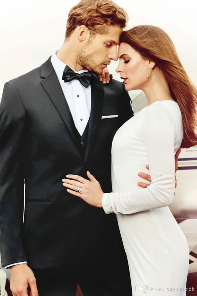 Men Suits 2018 Summer Black Wedding Suits For Man Custom Made Slim Fit Bridegroom Groomsmen Groom Best Men Blazer Formal Tuxedo Prom 3Pieces