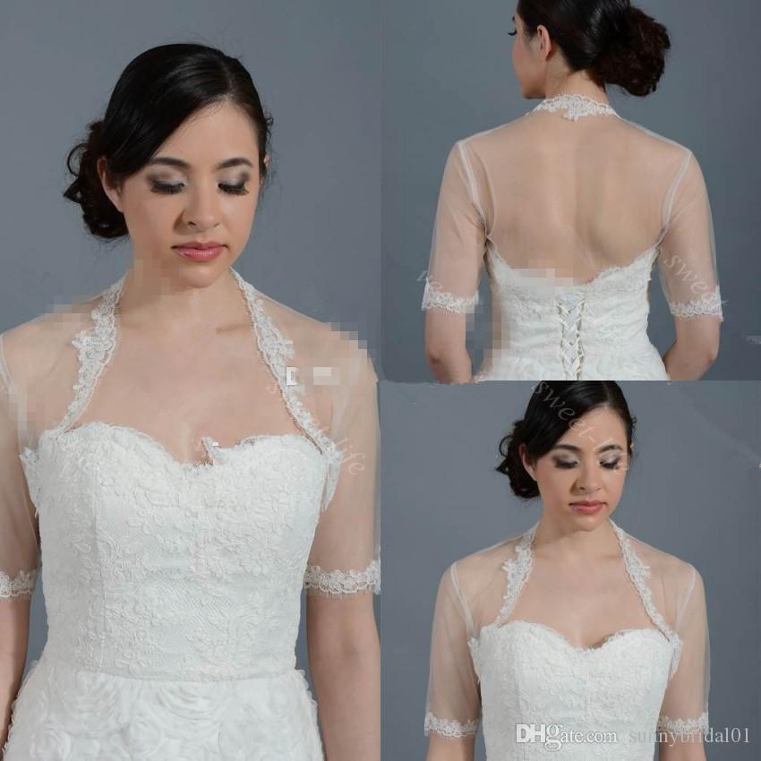 Cheap Lace Wedding Bridal Bolero Jacket Cap Wrap Shrug Ivory White Sheer Short Sleeve Applique Tulle Custom Made Jacket for Wedding Bride