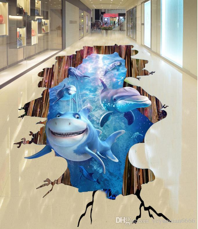 3D настил картина в картинке обои на заказ подводный мир фреска обои 3D пол ПВХ самоклеящиеся обои