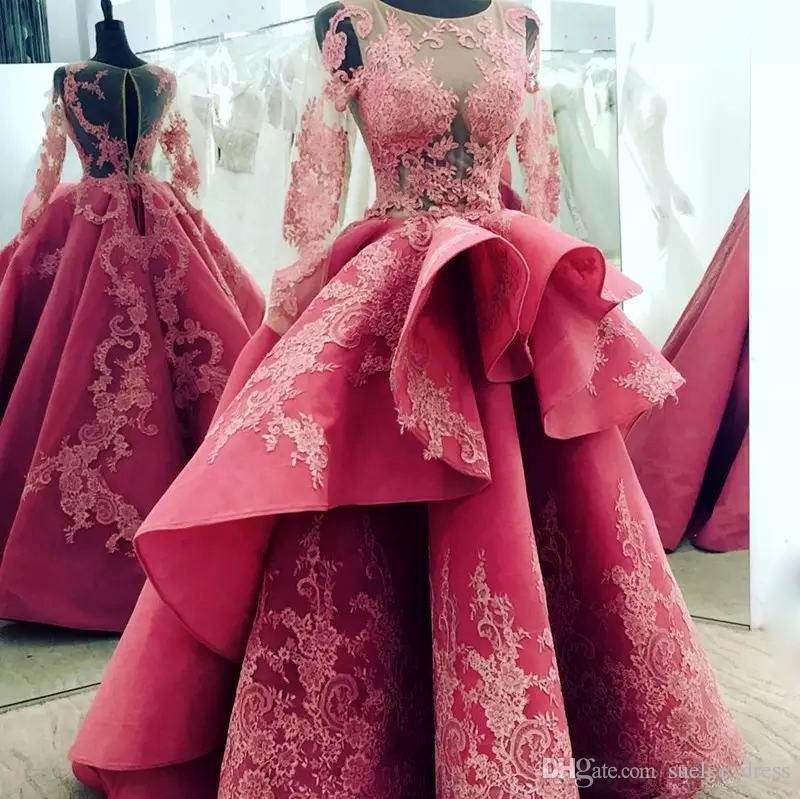 Sexy Illusion Bodice Prom Dresses con maniche lunghe in pizzo Applique Gonna a livelli Scoop Neck Piano Lunghezza Sera Formale Abito personalizzato