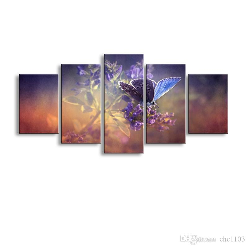 5 pieces high-definition print butterfly flowers canvas oil painting poster and wall art living room picture PF5-008