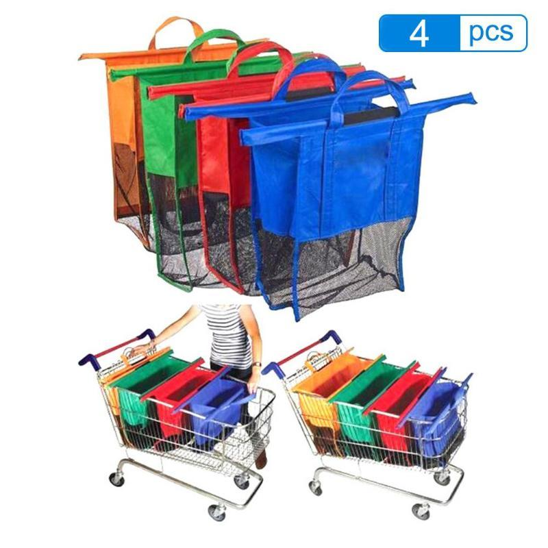 Cart Trolley Shopping Supermarket Bag Grocery Grab Shopping Foldable Bags Tote Eco-friendly Reusable Supermarket Bags 4pcs/set