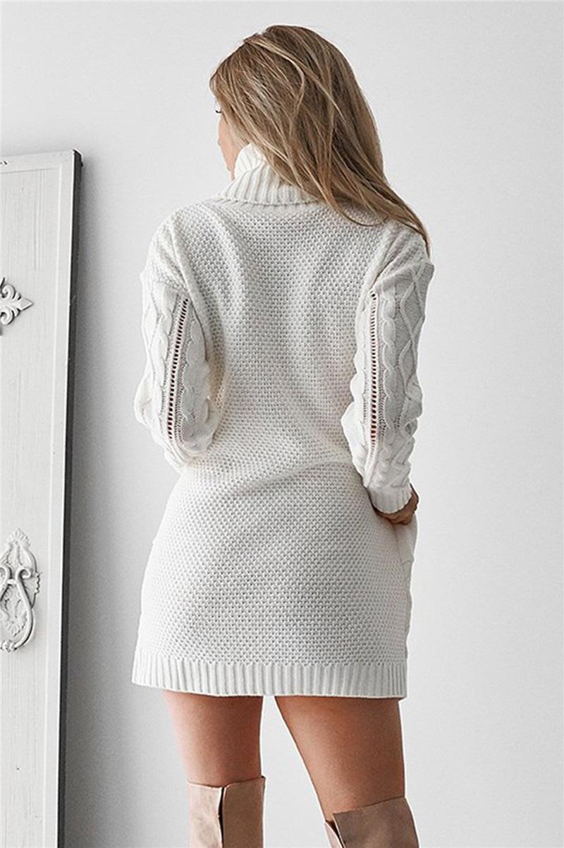 Acheter Fitshinling Poches Torsion Pull Robe Pull Femme Tricots Vêtements D'hiver 2018 Mode Mince Blanc Femmes Longues Chandails Nouveau De $38.25 Du