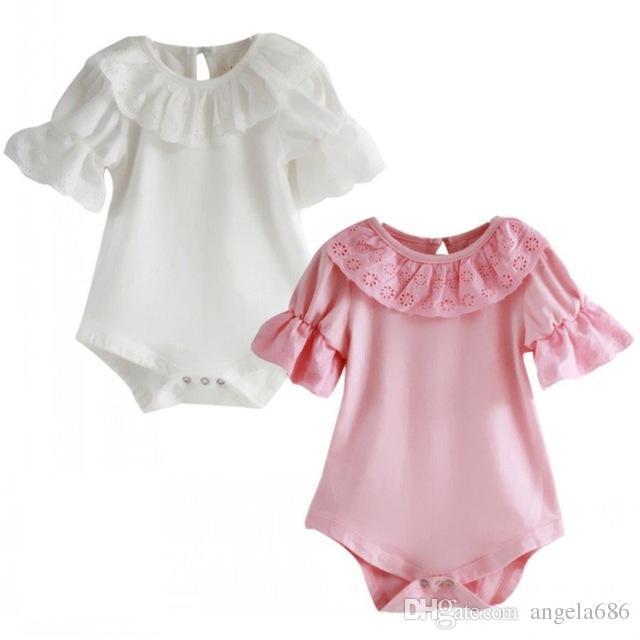 2018 Blumen-Spitze-Kragen-Säuglingskleinkind-Baby-Mädchen-Kurzschluss-Hülsen-fester Bodysuit Overall Ein Stücke Outfits
