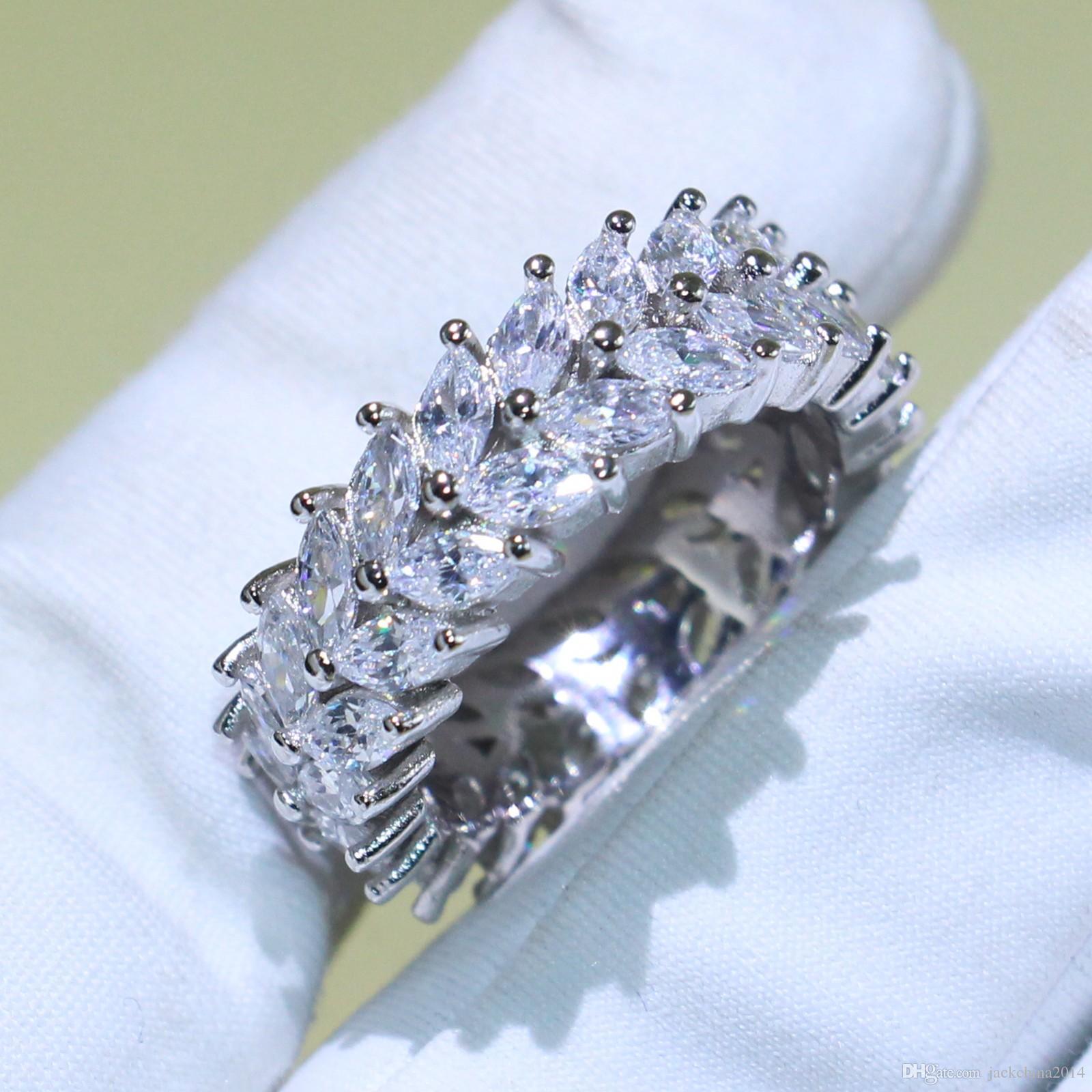 Victoria Wick Nieskończoność Luksusowa biżuteria 925 Sterling Silver Marquise Oszałamiający Biały Topaz CZ Diament Party Wedding Band Pierścionek dla kobiet Prezent