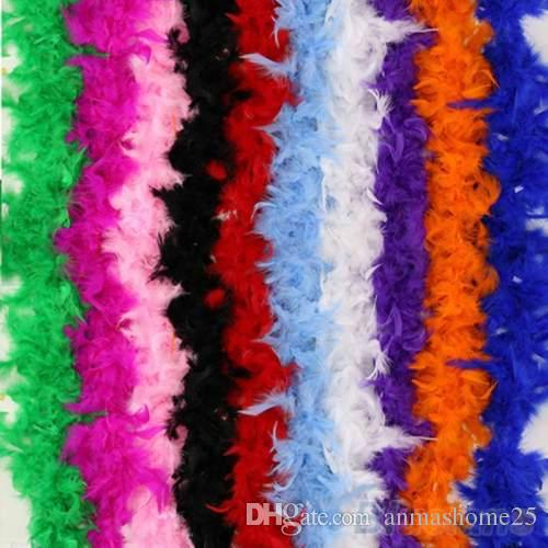 Vendita calda !!!!!! 10PCS / Set Multi-color Boa di piume di gallina Night Party Fancy Dress Party Fluffy Craft Costume da sposa 2M Scegli