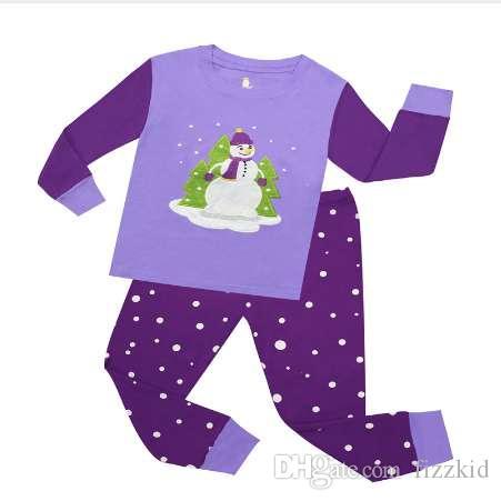 100% baumwolle Jungen Schneemann Pyjamas Sets Kinder 2 stück Langarm Weihnachten Pyjamas Kinder Nachtwäsche Baby Nachtwäsche Kinder Homewear