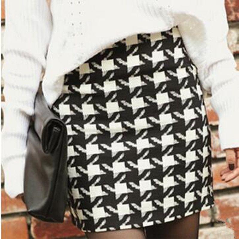 Frauen Herbst Winter Bleistift Rock Weibliche Arbeit Karriere Büro Dünne Hüfte Röcke Damenmode Vintage Plaid Rock Casual Mini Röcke