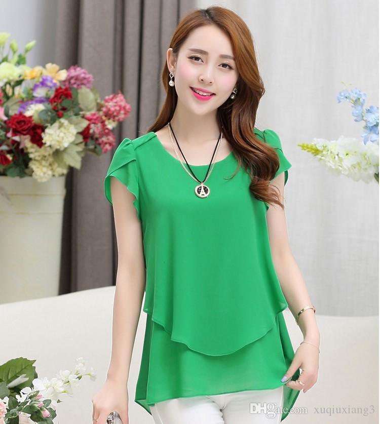 Artı boyutu m-5xl Şifon Bluz Kadınlar 2018 Kısa Kollu Zarif Bayanlar Ofis Gömlek Kore Moda Casual Slim Kadınlar Tops Blusas