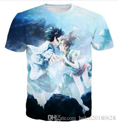 2019 New Fashion Women/Men Summer Style Clothing 3D Print Cartoon Romantic Spirited Away Funny T-Shirt Short Sleeve Hip Hop Tops Tees