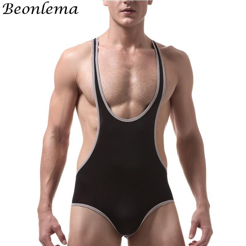 Beonlema Men Thong Bodysuit Hommer Sexy Shaperwear Stretchy Black Red XL Shaper Vest Man Daily Underwaer Vests For Sport