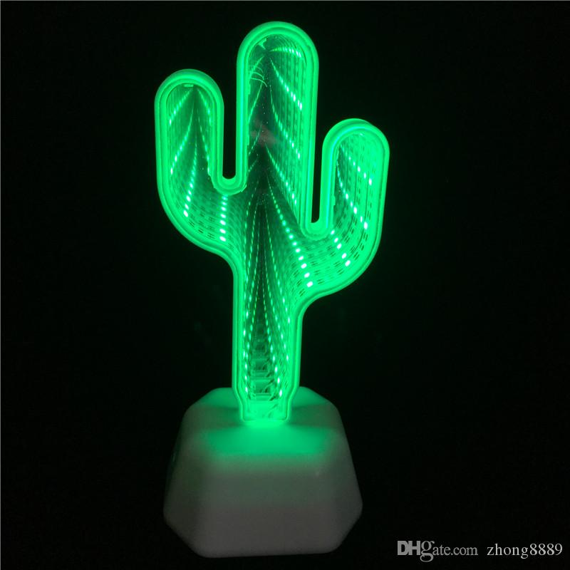Decorative3D Tunnel Lamps Cute Cactus Night Light Led Decor Lamp For Kids Baby Christmas Toy Desk Wall Table Bedside Decoration