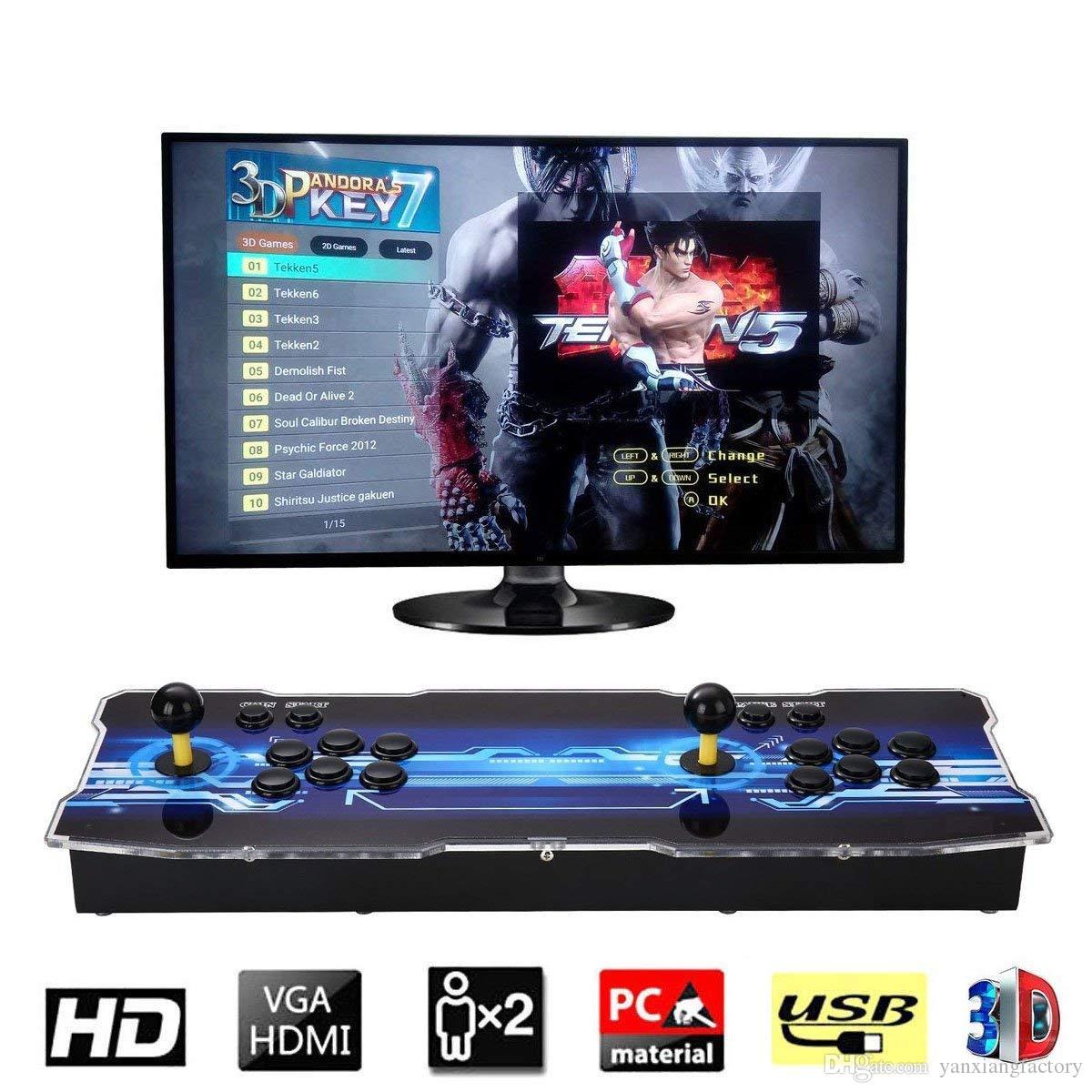 2019 [2199 3D HD Games] Pandora 7 3D 1280 * 1080P 32GB Arcade Video Game Console Box Arcade Machine Double Arcade Joystick مع Speaker yx2199
