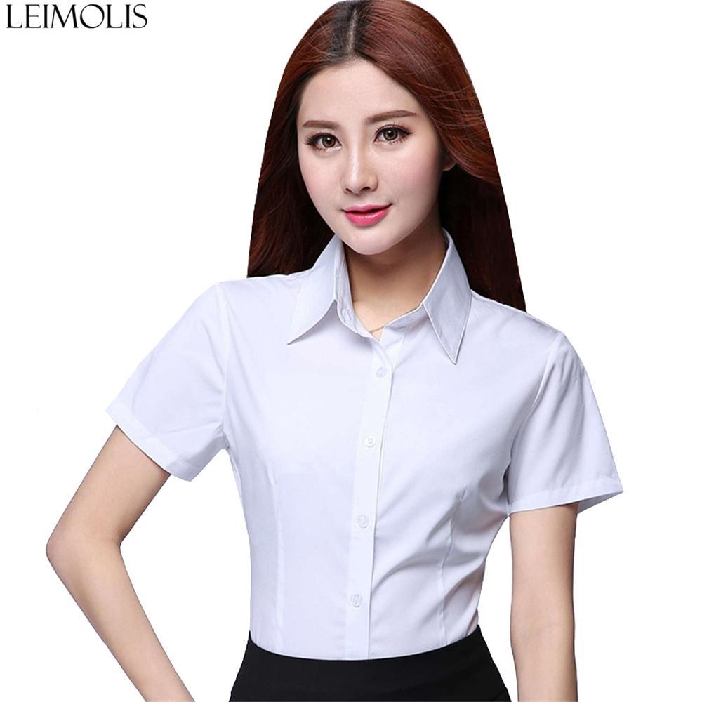 nuevo estilo 4a496 691e1 Compre Leimolis Blusas De Gasa De Moda Para Mujer Camisas Casuales De Manga  Corta Tallas Grandes Dama De Oficina Tops Blancos Blusas Ropa De Trabajo ...