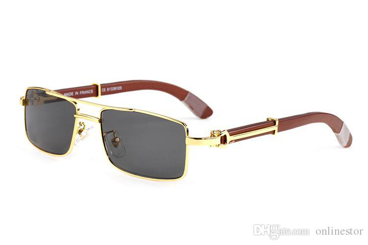 2019 Nova chifre Chegada búfalo óculos oculos Homens Ouro madeira original Sunglasses Mulheres Espelho Esporte Goggles Retro Vintage Sun Glasses Handmade