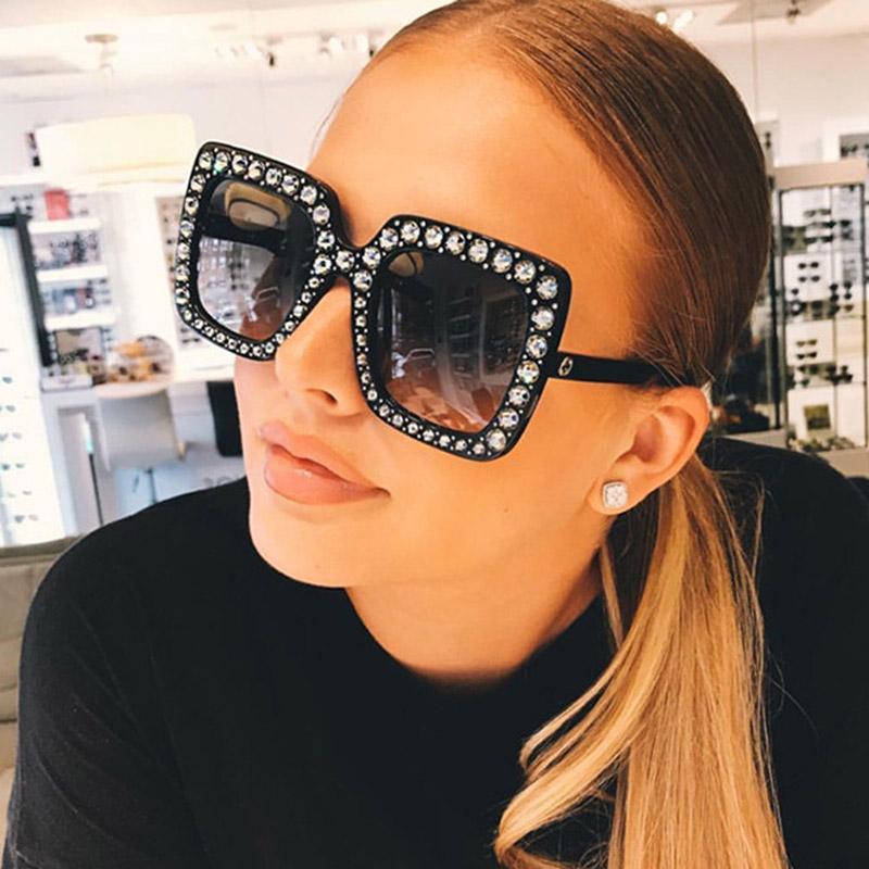 Große quadratische Sonnenbrille-Frauen-Luxusmarken-Designer-Kristall-Sonnenbrille-übergroße Eyewear 2018 neue Frau Oculos UV400