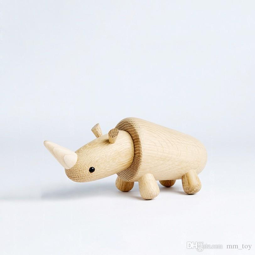 Wooden Craft 20cm Rhinoceros Oak Office Coffee Shop Decor Ornament Business Present Kids Educational Toys Birthday Gift