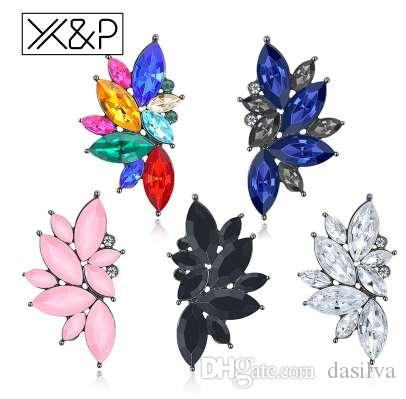 X&P Fashion Elegant Crystal Stud Earrings for Women Girl Christmas Party Opal Stone Gold Earring Jewelry Gift