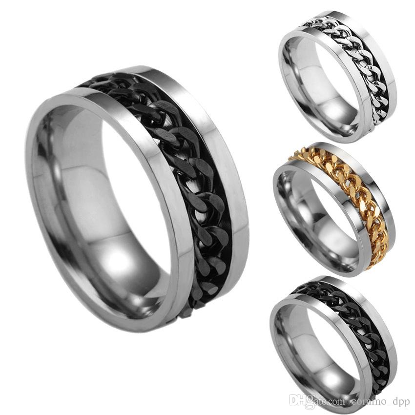 5 colores Anillos de los hombres de acero inoxidable High-End Boutique Gold Black Cadenas de plata Anillo de dedo giratorio para las mujeres Joyería de moda