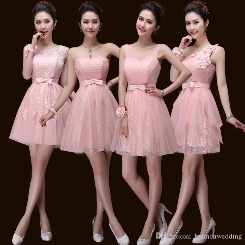 Compre Vestidos De Dama De Honor Cortos De Color Rosa Encaje Apliques Vestido De Invitados De Boda Encaje Hasta La Rodilla Gasa Vestido Formal Barato