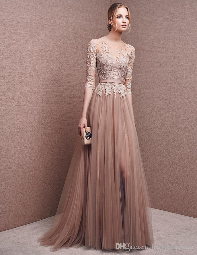 compre a line color marrón claro y encaje vestido de novia bateau