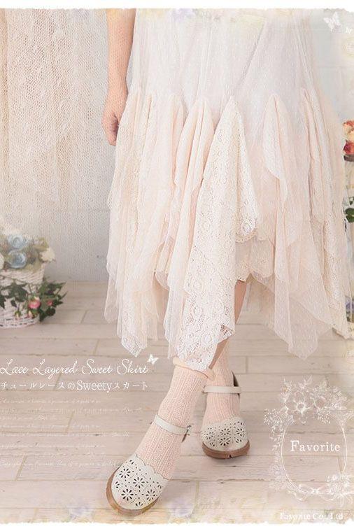 Jupes lolita princesse douce en coton d'été dentelle irrégulière au fond ondulé jupe large bretelles demi-jupe femme FG178