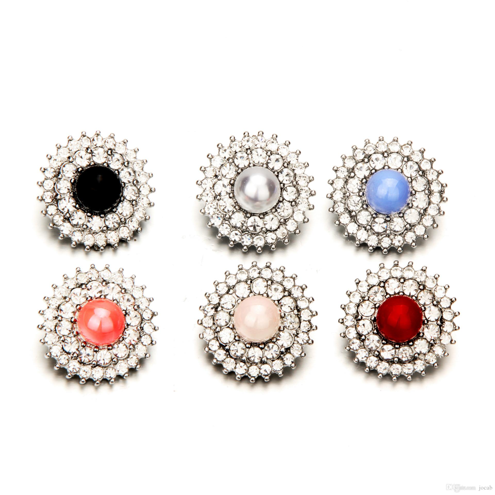 10X Rhinestones Pearl Crystal Buttons for DIY Bracelets Necklace Fashion Jewelry Wedding Decor Colthing Girl Hair Buckle Metal Accessories
