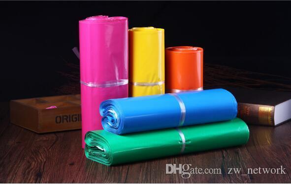 SFDHL 100pcs / lot besaces rose jaune de couleur A4 Poly Mailer 10 * 13 pouces express Sac 25 * 35cm Sacs courrier auto sac adhésif de bonne qualité