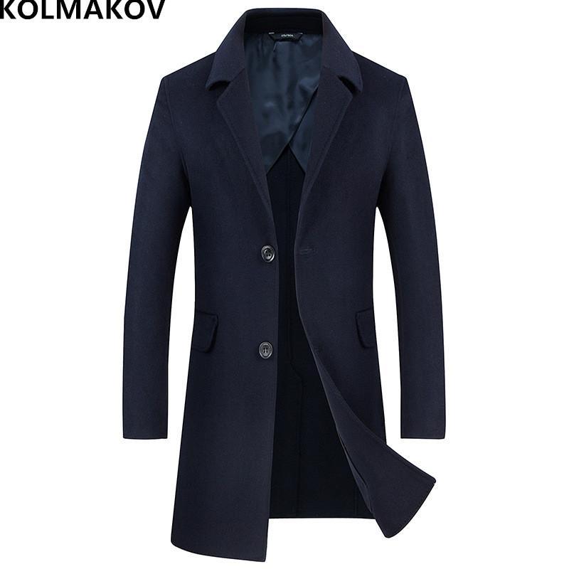 KOLMAKOV 2018 marque manteau d'hiver en laine manteaux de blousons long double-face manteau en laine des hommes slim fit manteau de Cachemire homme M-XXL