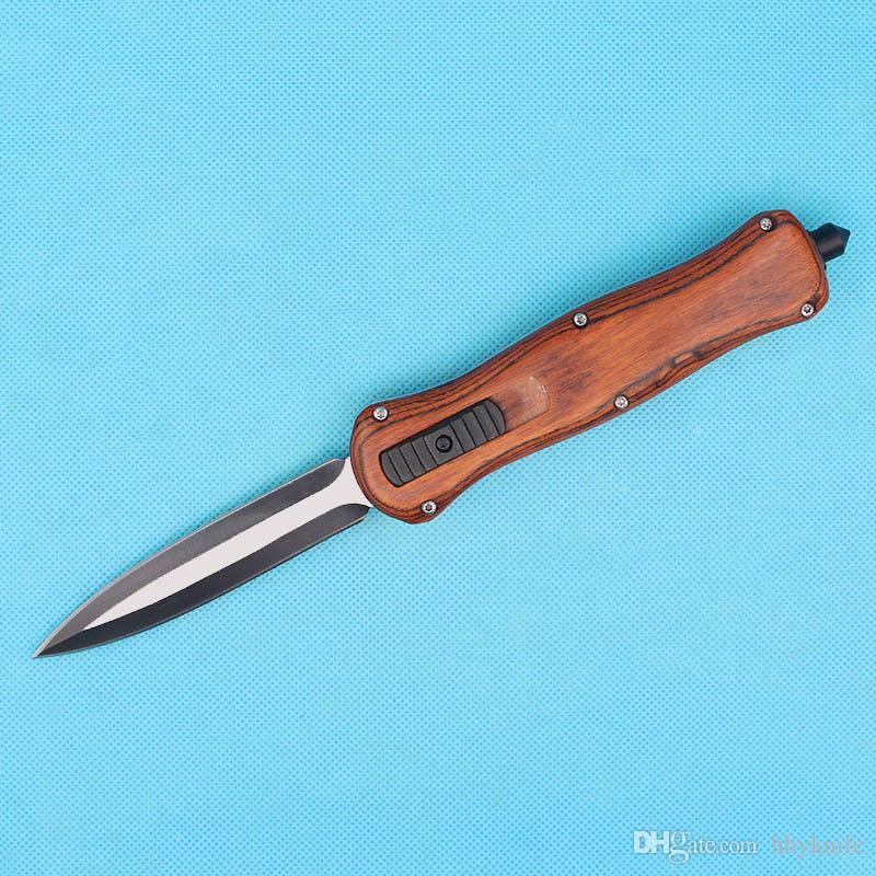 Butterfly A016 Auto Tactical Knife 440C Double Edge Fine Blade Brown Wood Handle Outdoor EDC Pocket Knives With Nylon Bag