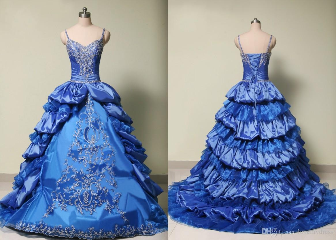 Classic Sliver Embroidery Ball Gown Quinceanera Dress Taffeta Ruffles Beaded Sequin With Straps Long Lace up Back Cheap Prom Evening Gowns