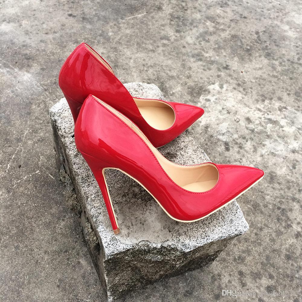 NUEVA SEÑORA Sexy Red Charol Zapatos de tacón alto de las mujeres bombas de las señoras de la boda Stilettos Zapatos de la corte Personalizado Aceptar