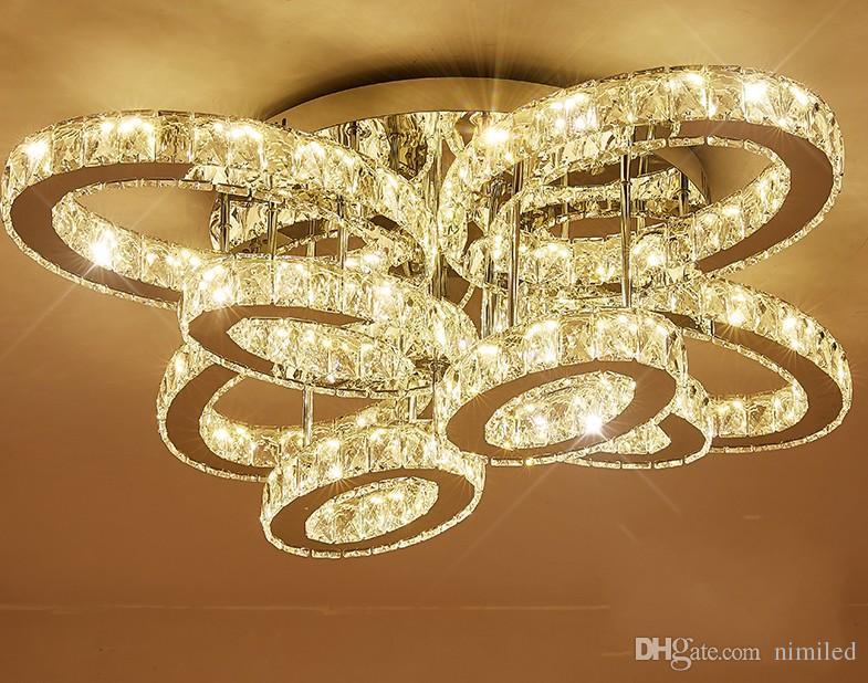 Salotto luce rettangolare creativo atmosfera ovale led lampada di cristallo luce calda camera da letto lampada ha portato ad assorbire luce cupola LLFA