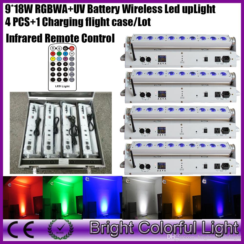 Rechargeable Battery Wireless DMX Wall washer 9x18W RGBWA UV LED events uplight with infrared control(4pcs+1 charging fly case)