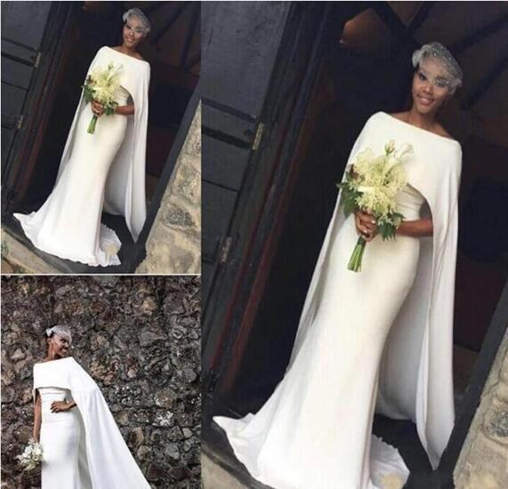 2018 Dernière Satin Robes De Mariée Sirène Fille Noire Avec Cape Zipper Retour Robes De Mariée Arabe Robes De Mariée