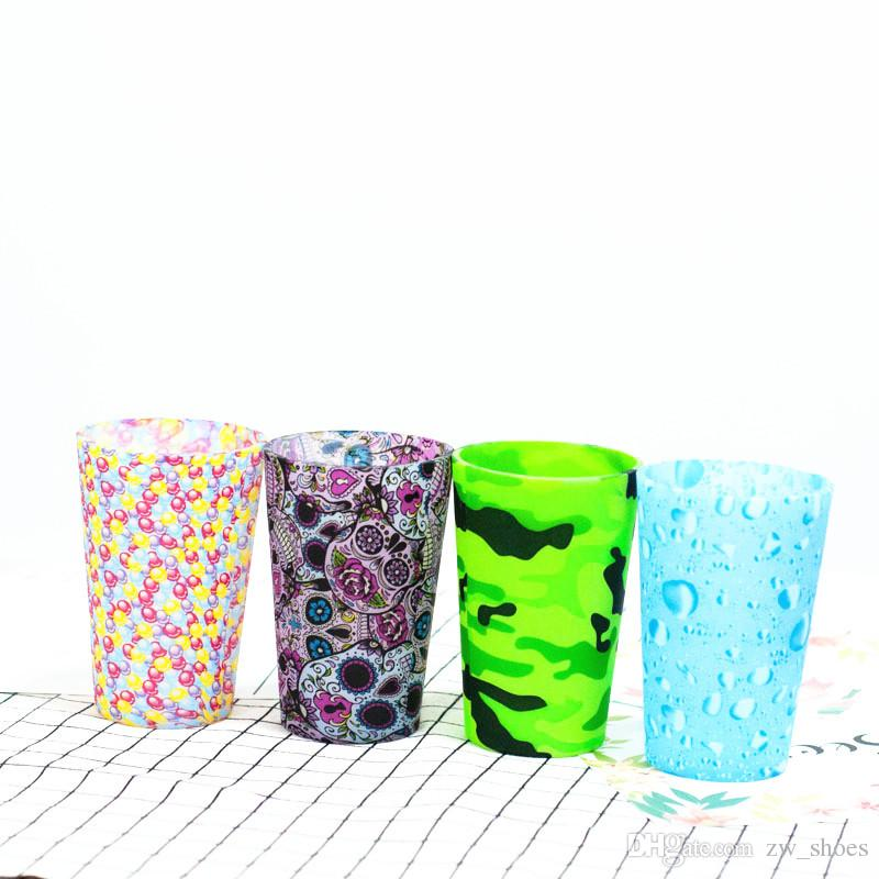 12oz camo Silicone Pint Glasses skull rubber Wine glasses Unbreakable, Microwave Safe for hiking camping 370ml