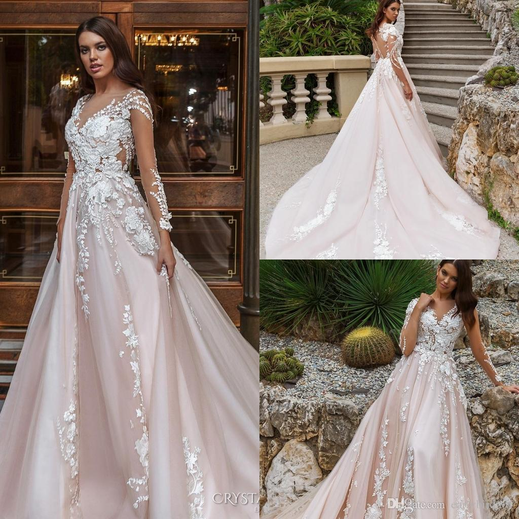 discount 2018 blush pink illusion long sleeves crystal design wedding  dresses lace appliques sexy back with covered button bridal gowns a line  ba7800