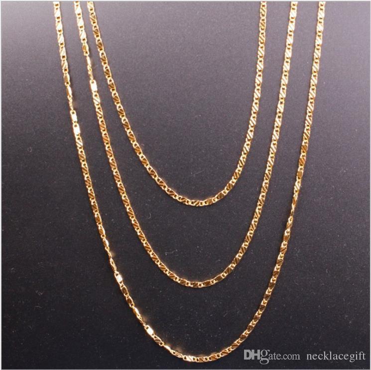 Europeu e americano de jóias por atacado novo 18 K banhado a ouro colar de 2 MM homens mulheres colares