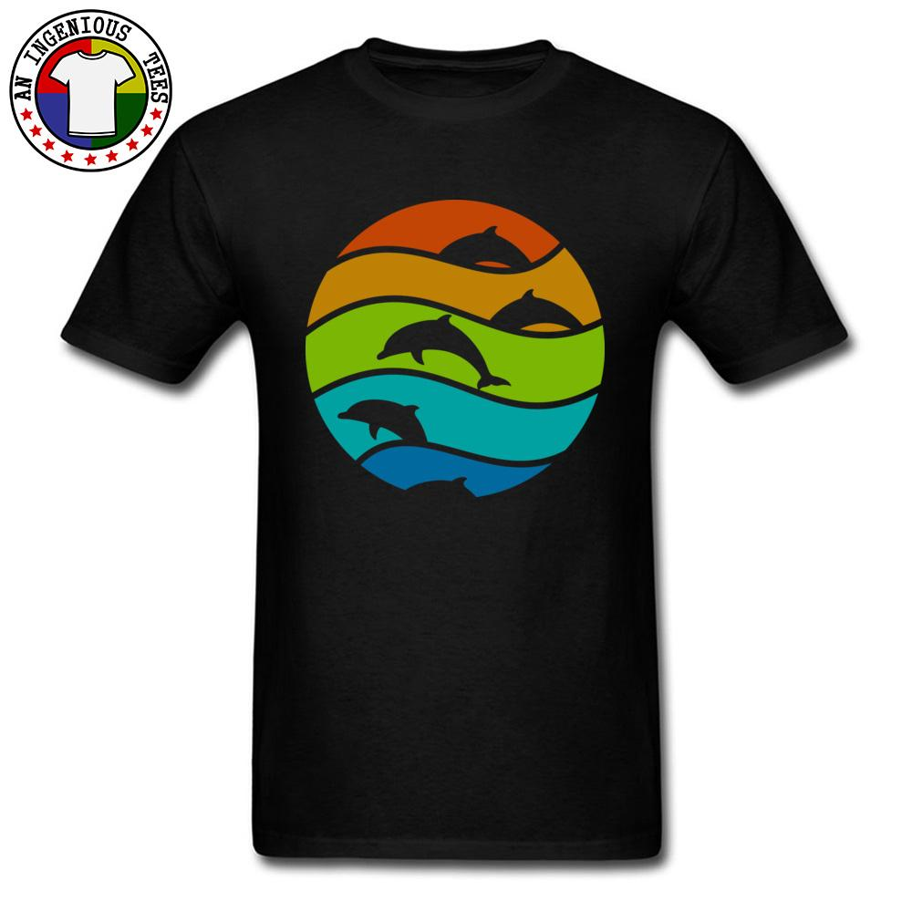 Mens New Tees O-Neck Fall Cotton Fabric Simple Top T-shirts Ocean Dolphin Art Top T Shirt For Men Big Size 3XL Fashion Tops