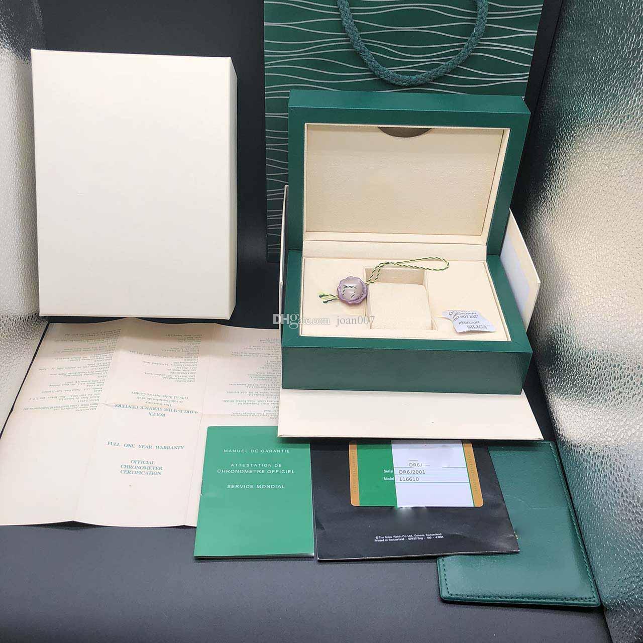 أفضل نوعية الظلام الأخضر ووتش مربع هدية القضية ل علاقات رولكس صناديق الساعات بطاقة كتيب بطاقة وأوراق باللغة الإنجليزية الساعات السويسرية صناديق أعلى جودة